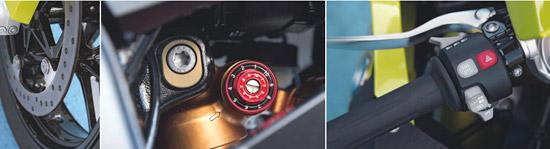 Ekscentar za podešavanje visine stražnjeg kraja, high i low speed kompresije na stražnjem amortizeru  Kočni diskovi bez unutrašnjeg prstena - stegnuti su izravno na felgu  Upravljačka centrala - ABS i DCT mogu se isključiti neovisno jedan o drugom, a pristup lap-timeru je jednostavan i praktičan