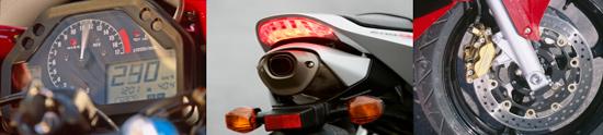 """Instrumenti su jednostavni i lako čitljivi. Na raspolaganju je čak i pokazivač goriva  Ispušni top je vrlo čisto integriran u stražnji kraj motocikla   2003. su """"mali"""" RR zaustavljale zlatne Nissinove četveroklipne kočne čeljusti"""